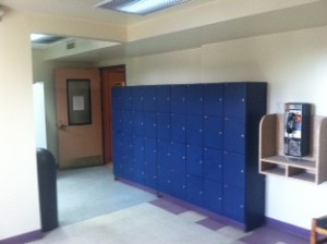individual kitchen lockers to store hot plates and other food items.